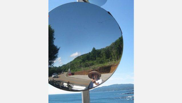 足摺岬辺の道は遠い。けれども空も海も青い。