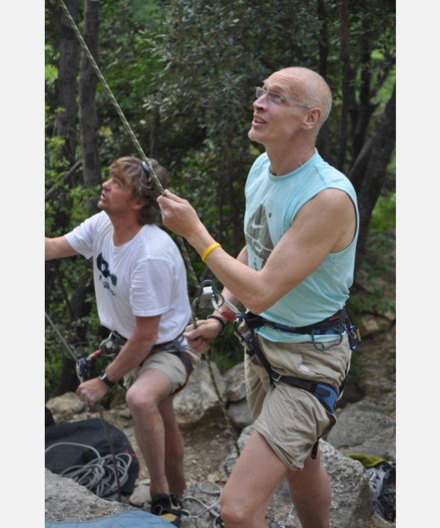 親しい友であり、長年ヨーロッパのセールスレップとして勤務するノーバート・サンドナーとの岩登り。