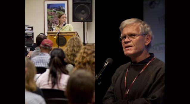 2011年度のパタゴニアの草の根活動家のための「ツール会議」で講演するアニー・レオナード(左)。Photo: Tim Davis/2009年度の国連の「気候変動に関する国際連合枠組条約」で講演するリック・リッジウェイ(右)。Photo:Kodiak Greenwood