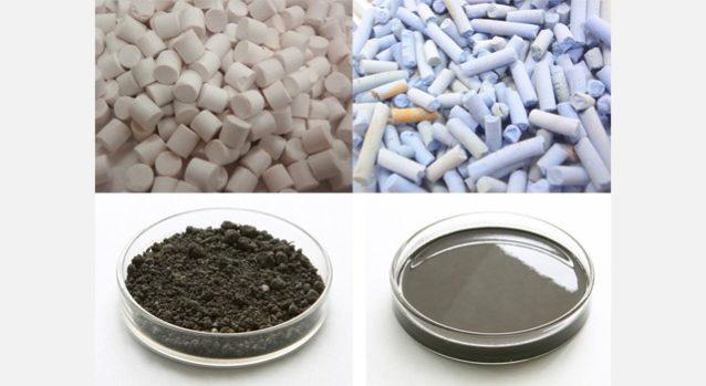 左上:廃棄物1、右上:廃棄物2、左下:セメント原料系、右下:液体代替燃料。写真:アミタ株式会社