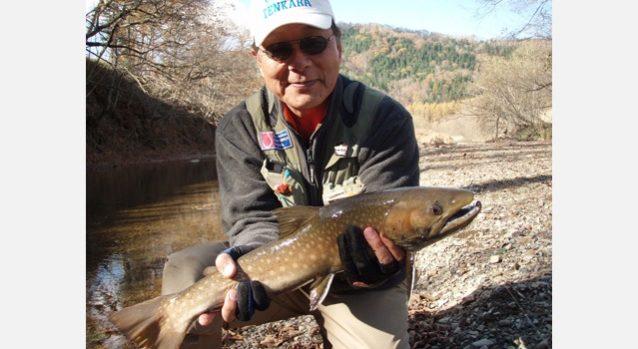 テンカラで釣ったアメマス62.5cm