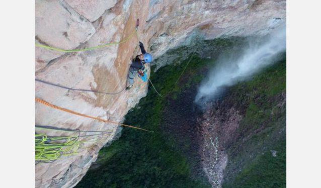 マリア・ロサの終盤ピッチの1本をセカンドで登るジャン-ルイ・ヴェルツ。Photo:Xpedition.be