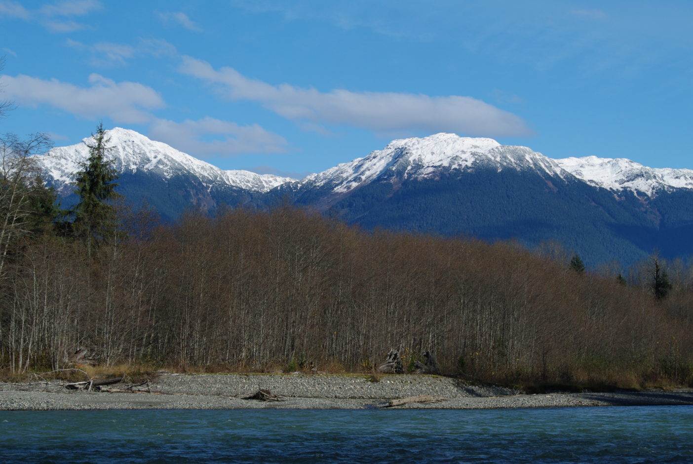 ウイルダネスが残る川岸と冠雪したばかりの山々。写真:足立信正