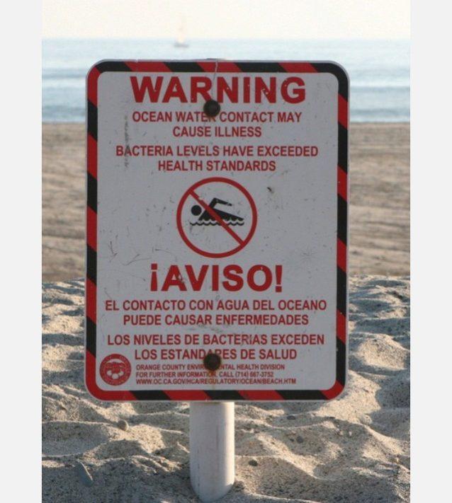 波が立っているときに、ビーチでいちばん見たくないのがこの看板。Photo: Abraxas3d