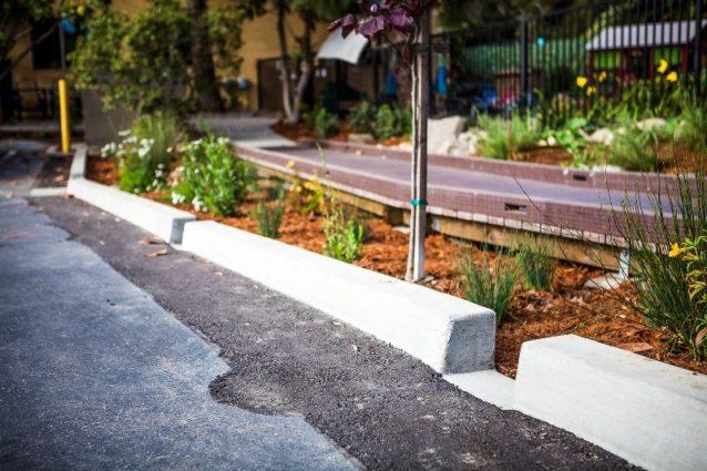 駐車場の縁石の切れ目から雨水がバイオスウェールに流れ込む。岩、マルチ、植物、そして土壌がこのようなバイオスウェールを巨大なスポンジのように機能させ、雨水をろ過する。Photo: Jeff Johnson