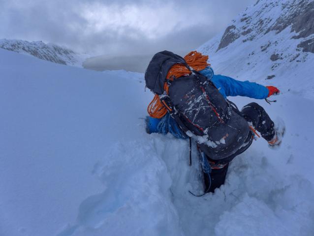 実際どれだけの降雪があったかという僕らの知識は、氷河に着くと裏付けされた。Photo: Marko Prezelj