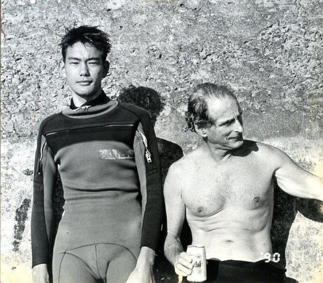 僕とミッキーさん。七里ヶ浜正面