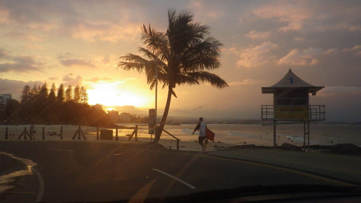 夕日のスナッパーロックス 写真:進士剛光