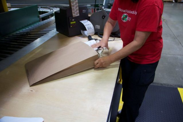 テスト方法:郵送封筒へのプラスチック利用を排除するため、2種類の紙製封筒を選んでテスト。Photo: Nellie Cohen