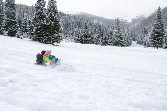 季節が変わり、コロラドのロッキーマウンテン国立公園でそり遊びを楽しむフィッツ(前)と友達。Photo: Rebecca Caldwell