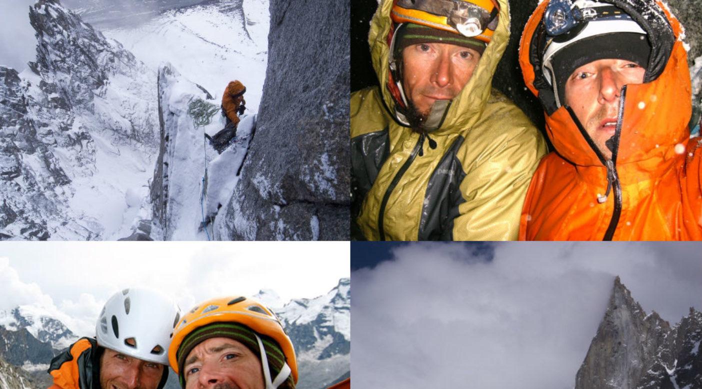 2008年にシャモニへ遠征したジョニーとマイカがドリュの西壁で一夜を凍えて過ごしたときの写真。Photo: Jonny Copp