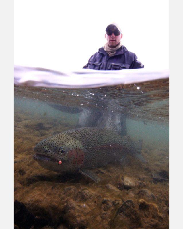 アングラーと魚の両方が写っていながら、魚は完全に水に浸かっているという素晴らしいイメージ。Photo: Dave McCoy