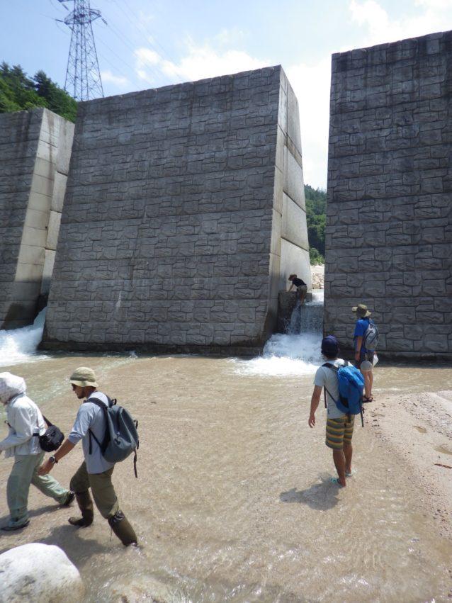 乳川既設白沢砂防ダムのスリット化改修。スリットが入ったことで、魚類や他の水生生物の移動が可能となっている。写真:パタゴニア日本支社