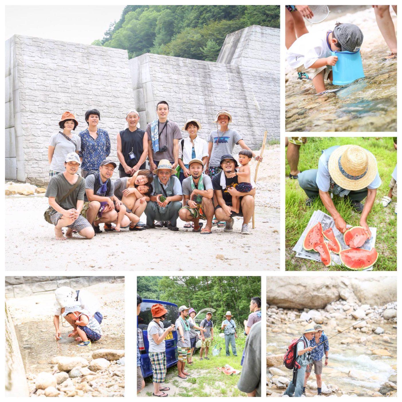 渓流保護ネットワークとパタゴニア白馬で企画した川遊びイベントの様子。写真:古厩志帆