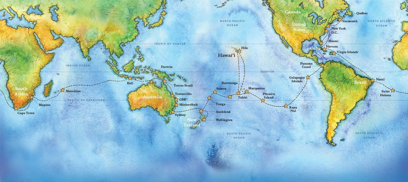 ホクレア号の4年にわたる世界航海の地図。ハワイの双胴型航海カヌーは最新計器を使わず、頼りにするのは太陽、月、波、鳥、風、星といった自然の指標だけ。イラスト:ショーン・エドガートン