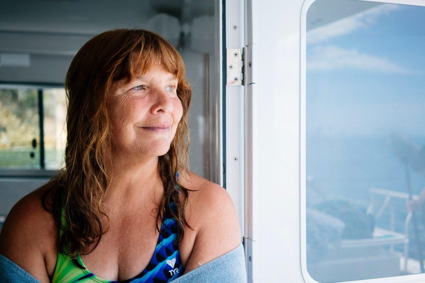 カタリナ島で泳いだあとのリンの笑顔。Photo: Donnie Hedden