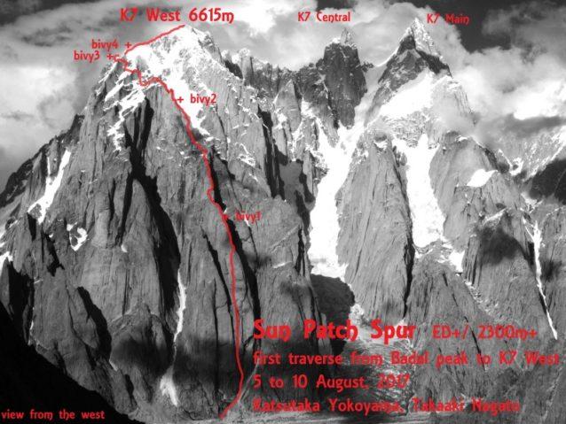 ルート全体図。Badal Peakから先は簡単に見えるのだが……。写真:長門敬明