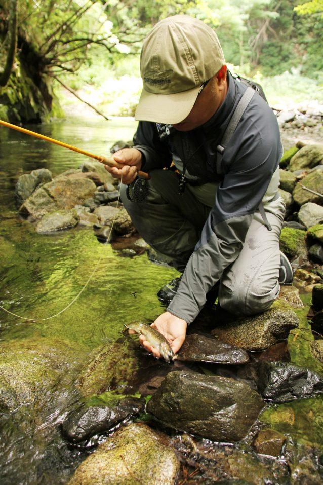 アベレージサイズは7~9寸だが、ほとんどのイワナが大きなフライに好反応。 写真:森安正樹