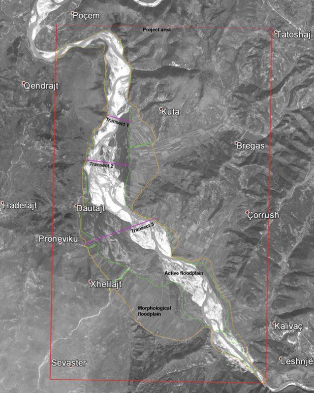 ヴョサ川の調査週間に実施されたクタ村付近の調査範囲。このエリアは3つの区に分類された。 Photo: © Google Earth/Prepared by Fluvius