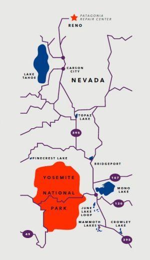 <p><em><strong>パタゴニアの修理センターへようこそ</strong></em></p><p><em>リノの修理センターはシエラ・ネバダ山脈のマウント・ローズ山頂から55 キロメートルの位置にあり、カリフォルニア州トラッキーまでは44 キロ、サウス・レイク・タホまでは108 キロという、まるで裏庭に山があるような立地です。出勤前の夜明けのパトロールをはじめ、社員がスキーに行くことは大いに奨励され、お客様のスノー用ギアを修理している技術者が、同じ山で自分のギアを試している可能性も十分あります。パタゴニアの社員が雪を愛する人たちの大切なウェアを修理センター(LEED 認証取得済み)で修理する前や終業後、ひと滑りするには格好の場所です。</em></p>