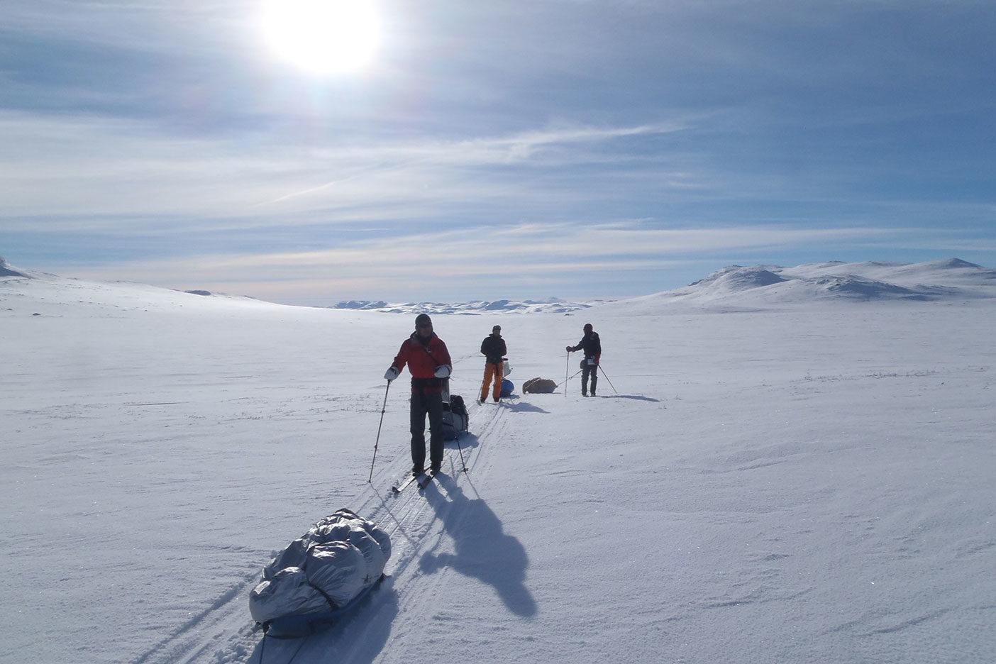 人生初めてのスキー旅、ハルダンゲル高原での序盤。 写真:柴田丈広