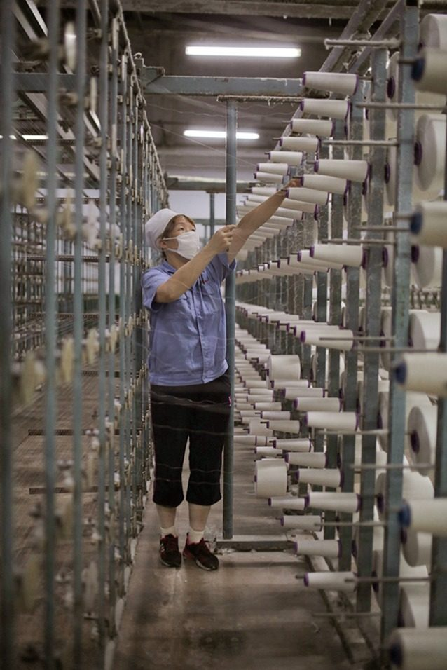 小さな糸巻きに巻かれた加工済みのヘンプ繊維が、巨大な織機に給糸され、織る前の糸ボルトを作る。写真:ロイド・ベルチャー