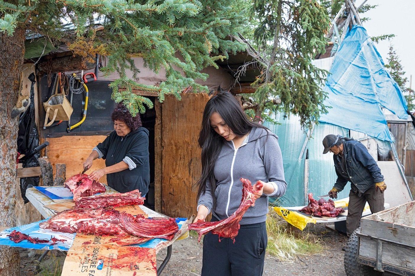 アラスカ州アークティック・ビレッジ(グウィッチン語で「ヴァシュライ・クォー」)の自宅でカリブーの肉を切り分けるギルバート一家と友人たち。保護区を採掘産業に開放すれば、このグウィッチンの伝統は脅かされてしまう。Photo: Keri Oberly