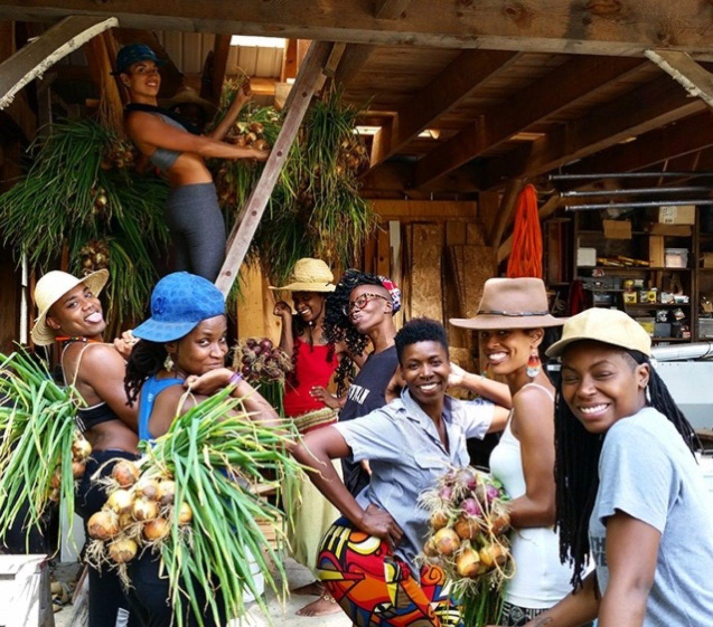 納屋で玉ねぎを吊るす「黒人・ラテン系住民農場従事者集中訓練」の参加者たち。Photo:Leah Penniman