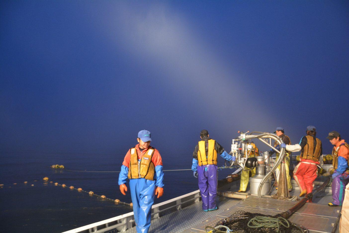 設置された定置網を概ね回収した漁師の船上風景。海と空の色合いが調和する漁師特権の景色。写真:村上春二