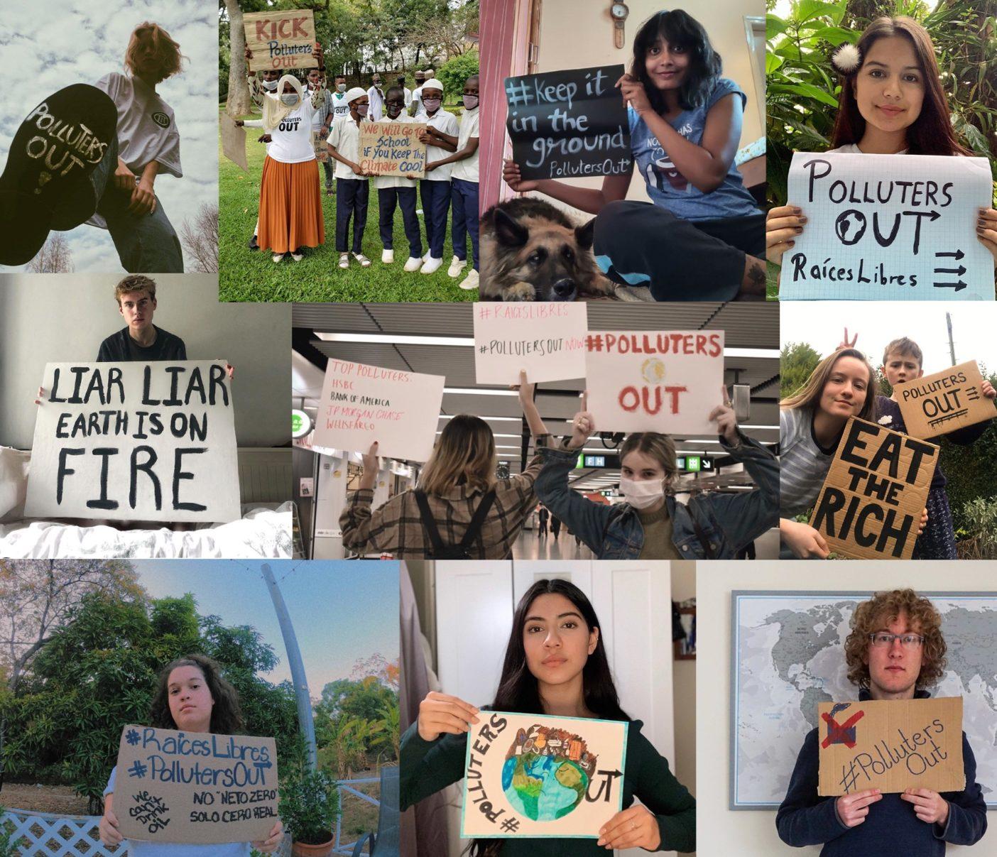 自宅からの組織化   街頭に出る選択肢がないなか、抗議者たちはデジタル・ツールを利用して気候行動を呼びかけている。これらの若い活動家はツイッターとインスタグラムにメッセージを掲載することで、〈ポルーターズ・アウト〉のデジタル・ストライキに参加した。Photo:Polluters Out提供
