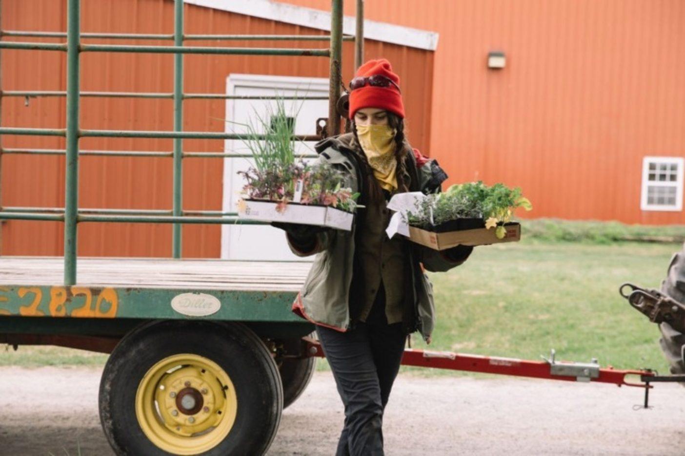 ドライブスルーで植物を販売する際、お客様の安全に保つための手順にしたがう〈ロデール〉のインターン、デライラ・ミスケ。photo:Johnie Gall