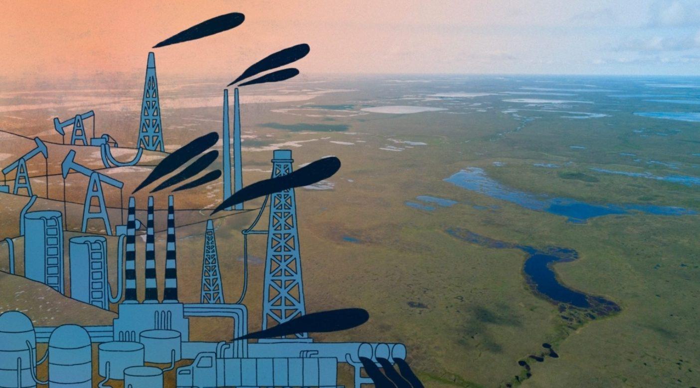 アラスカの全米原油埋蔵地として知られるテシェクプク・カリブー群の出産地を牛耳る産業。 Illustration:Samantha Levy, Photo:Keri Oberly