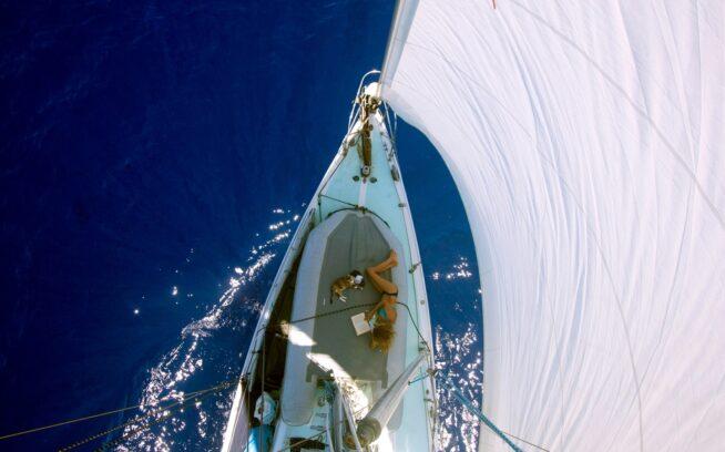 スウェル号に揺られて、キャプテン・リズとトロピキャトのふたりだけの午後。Photo : Liz Clark