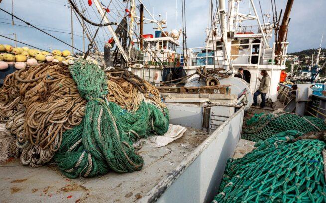 この船に積まれているような古い漁網は、海洋プラスチック汚染の要因のひとつとなっている。チリ、タルカワノ Photo : Jürgen Westermeyer