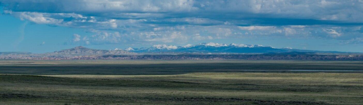 北にハニカムビュート原生地調査区域、コンチネンタルピーク、南ウィンドリバー山脈を望む。前景に広がるセージの大平原には野生の馬、エルク、プロングホーンが生息していることが多い。写真:スコット・コープランド