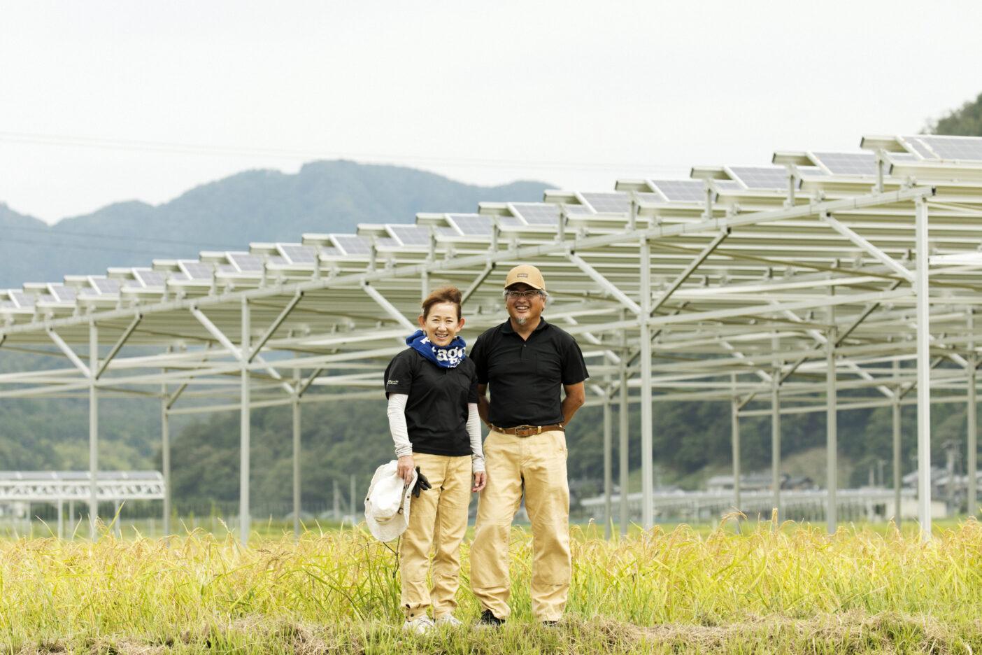ソーラーパネルを設置した「坪口農事未来研究所」の田んぼにて、平峰英子さんと夫の拓郎さん。写真:五十嵐 一晴