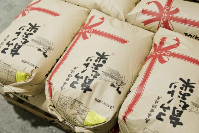 但馬地域のブランド米で、「コウノトリ育む農法」で栽培された「コウノトリ育むお米」。写真:五十嵐 一晴
