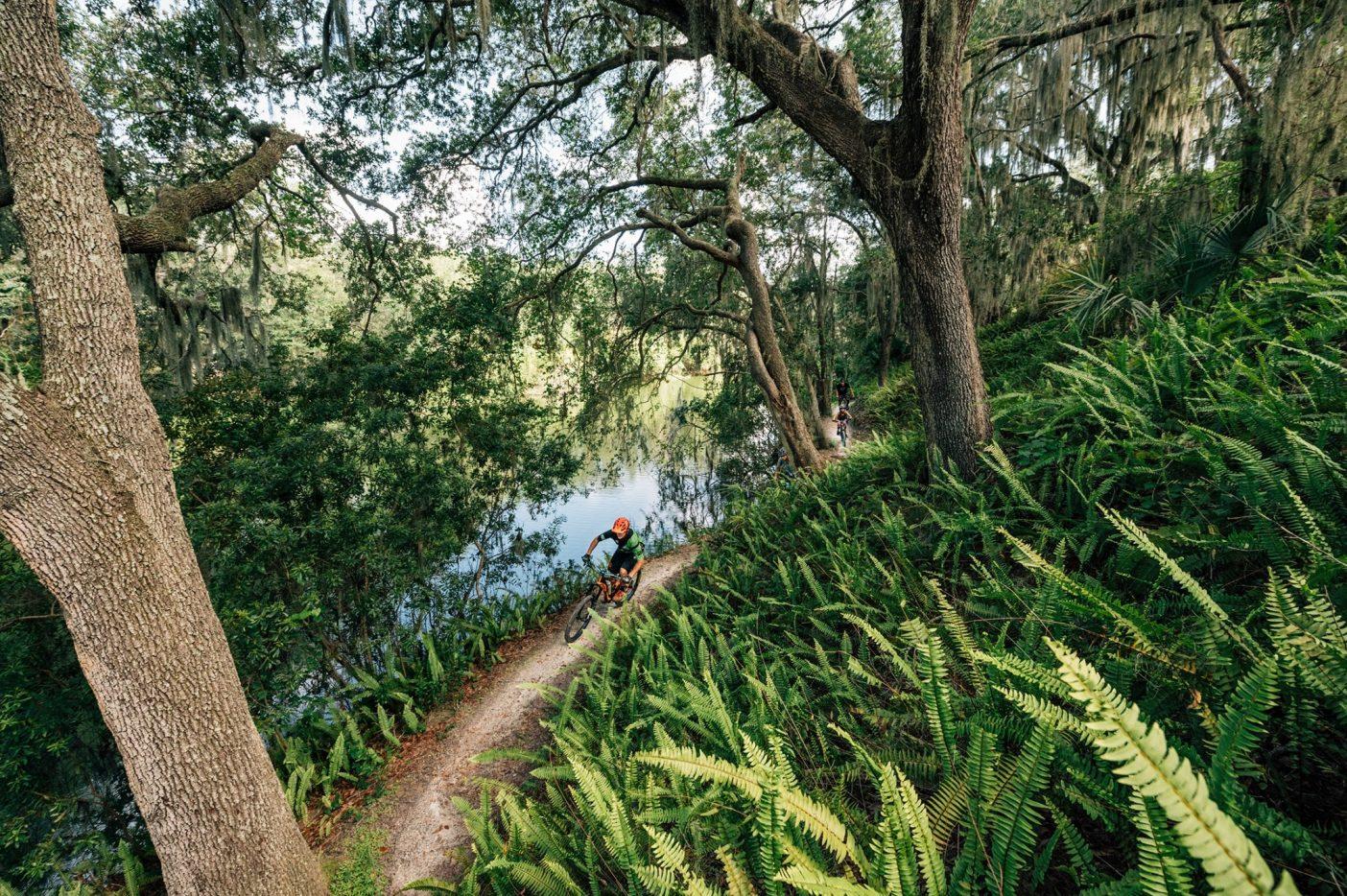 ロイス・E・ハープ公園の中で最も挑戦的なトレイルのいくつかは「フィンガーズ」と呼ばれ、ワニがうようよする水に三方を囲まれている。この写真は「フィンガーズ」の戻りのトレイルひとつで湖畔をクルージングする〈リッジ・ライダーズ〉のトレイル責任者スティーブ・スポング。Photo : Nathalie DuPré