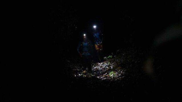 真っ暗なトレイルは昼間以上に全身の感覚を研ぎ澄ませて進む 写真:小関 信平